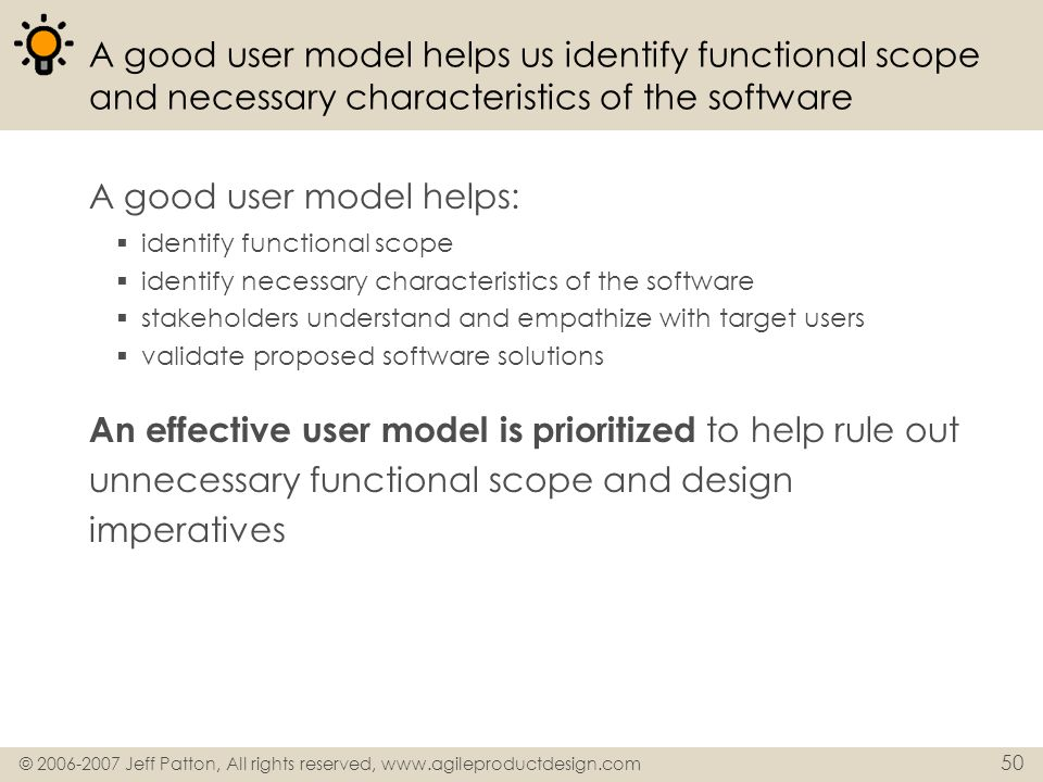 A good user model helps: