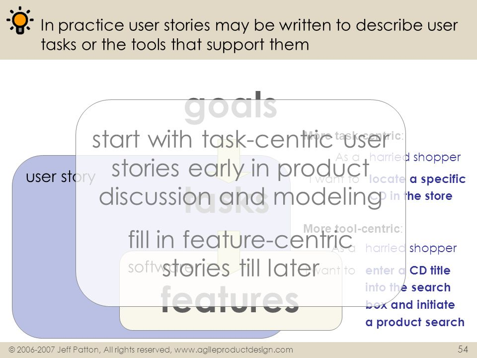 fill in feature-centric stories till later