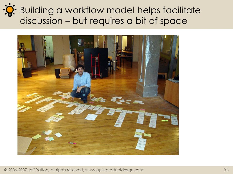 Building a workflow model helps facilitate discussion – but requires a bit of space