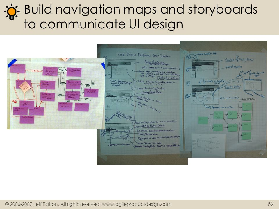 Build navigation maps and storyboards to communicate UI design