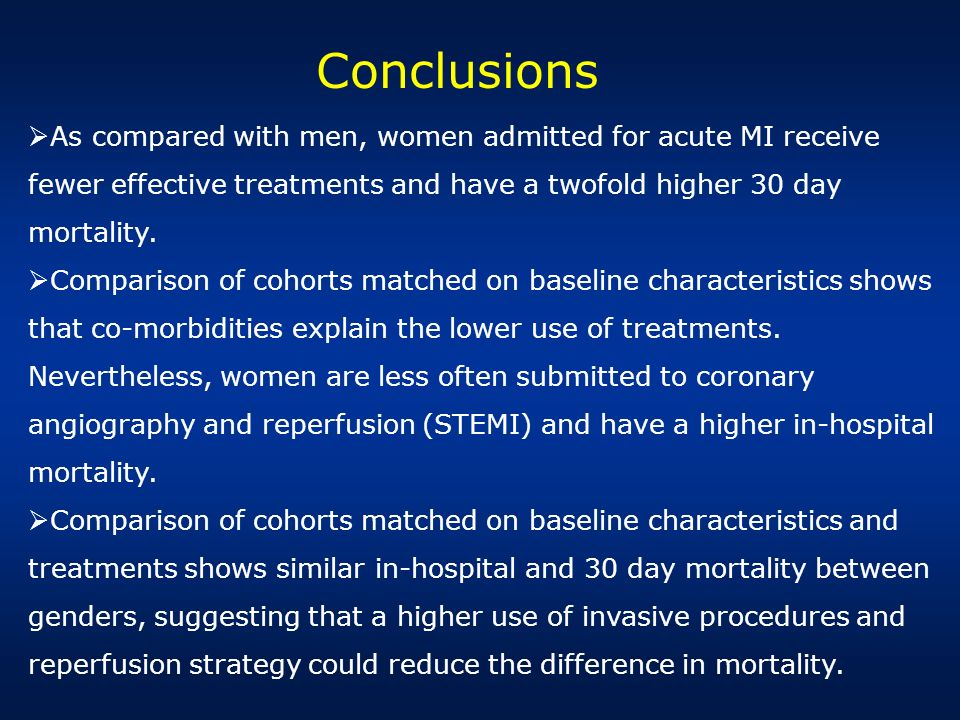 Conclusions As compared with men, women admitted for acute MI receive fewer effective treatments and have a twofold higher 30 day mortality.