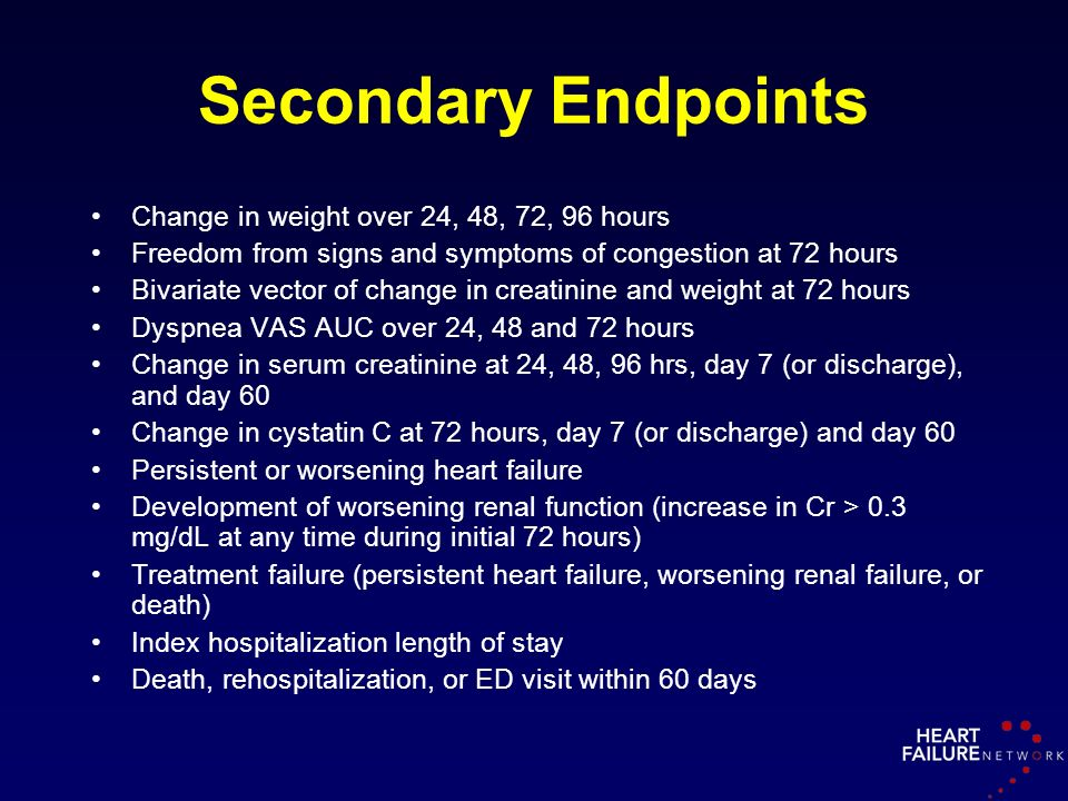 Secondary Endpoints Change in weight over 24, 48, 72, 96 hours