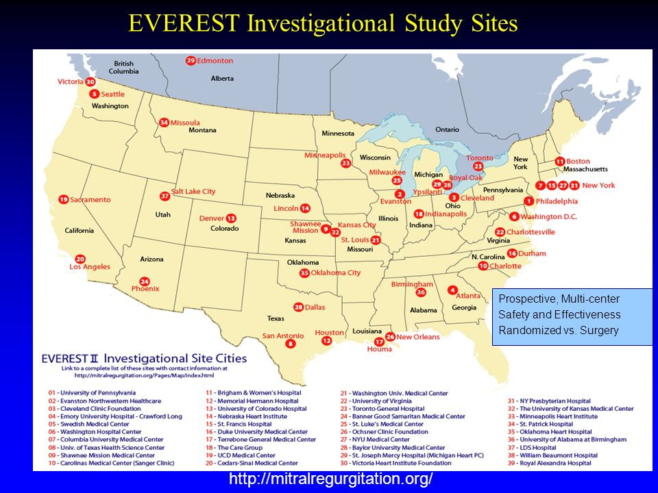 EVEREST Investigational Study Sites