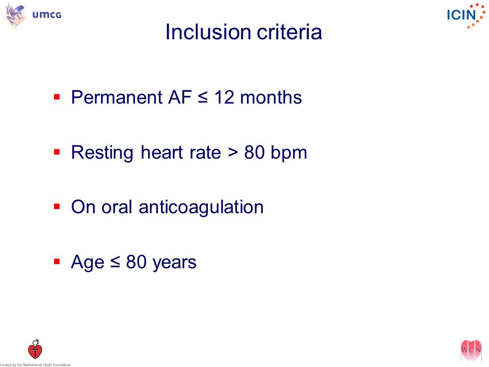Inclusion criteria Permanent AF ≤ 12 months