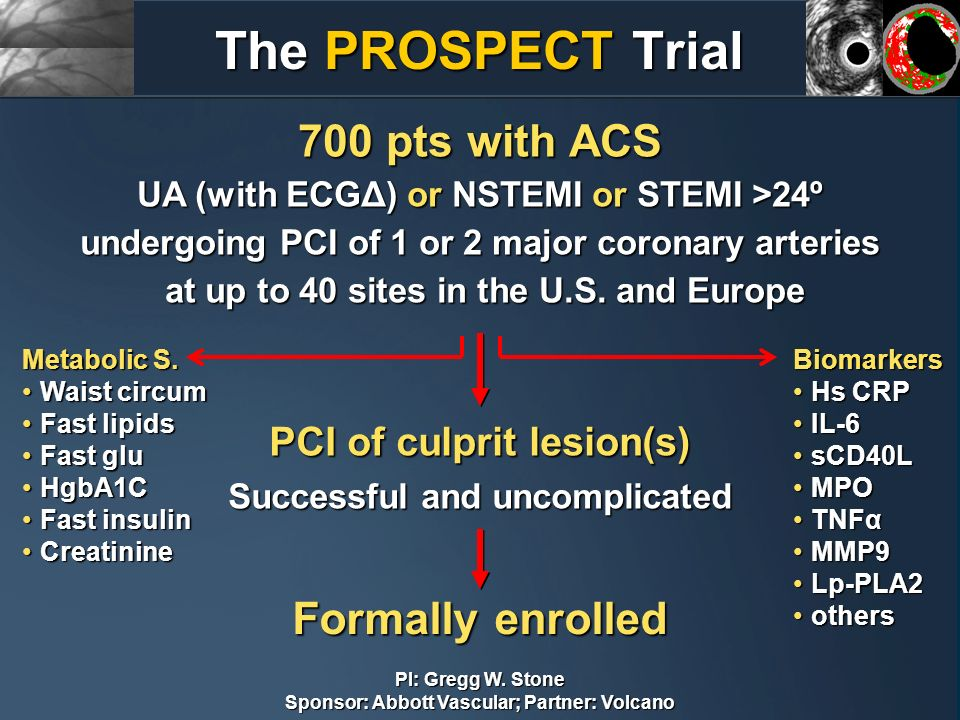 The PROSPECT Trial 700 pts with ACS Formally enrolled