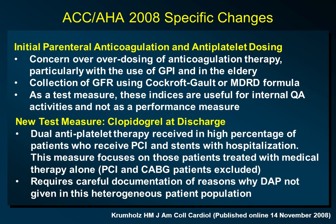 ACC/AHA 2008 Specific Changes