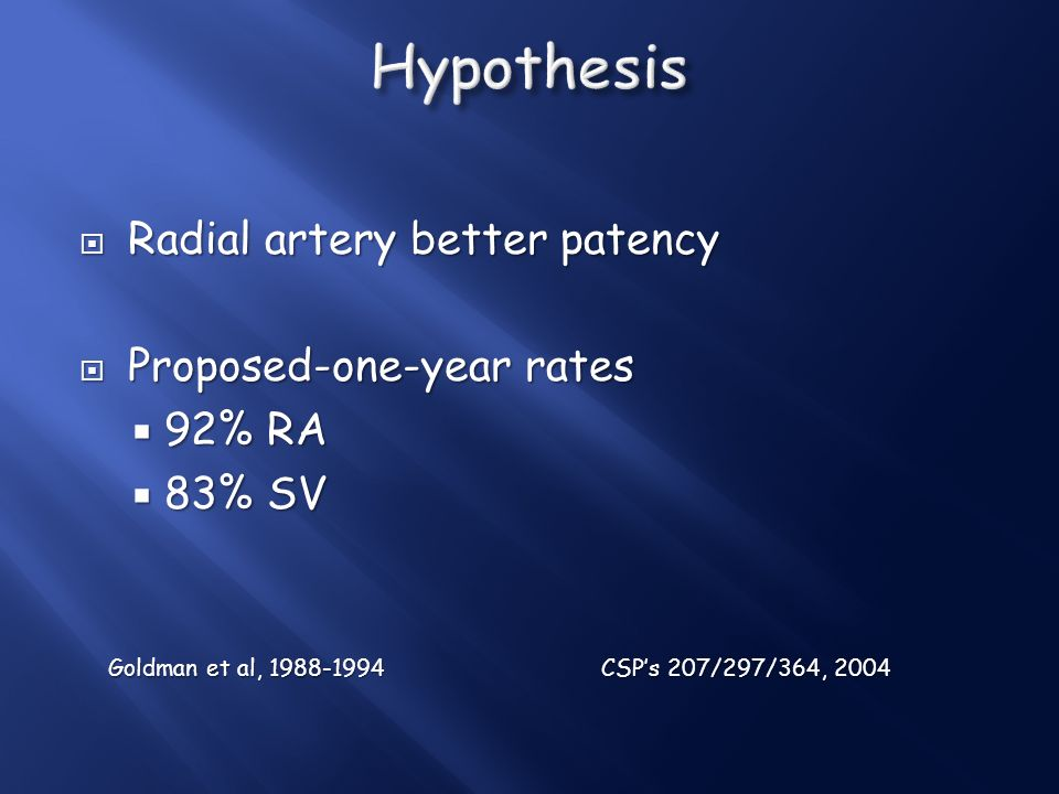 Hypothesis Radial artery better patency Proposed-one-year rates 92% RA