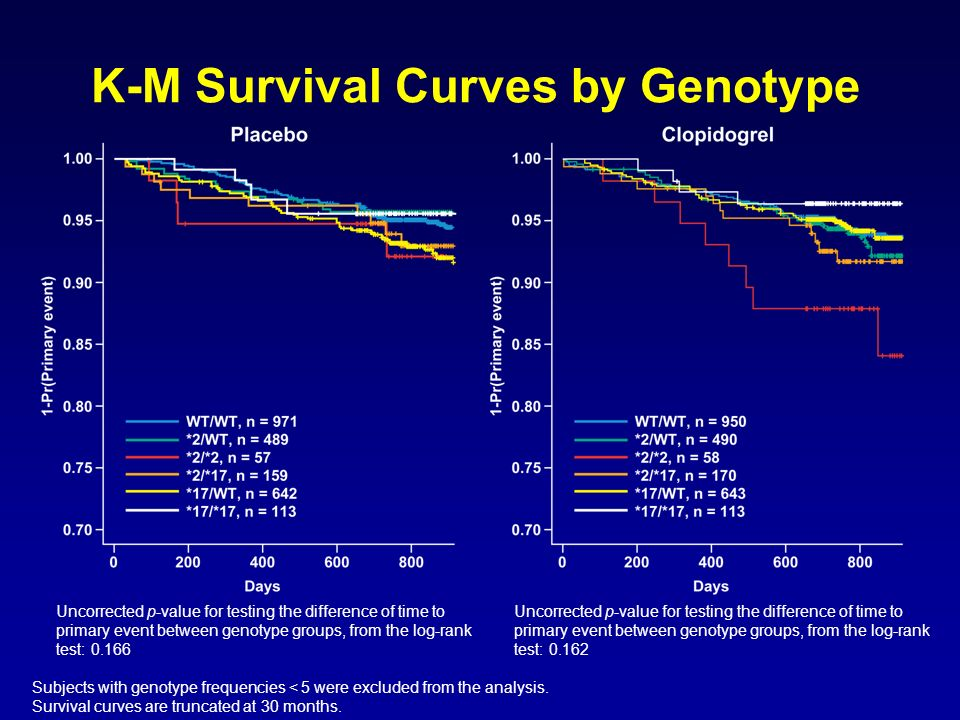 K-M Survival Curves by Genotype
