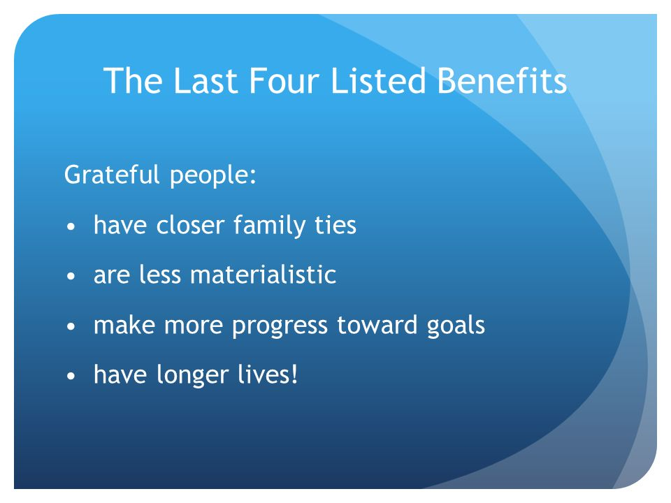 The Last Four Listed Benefits