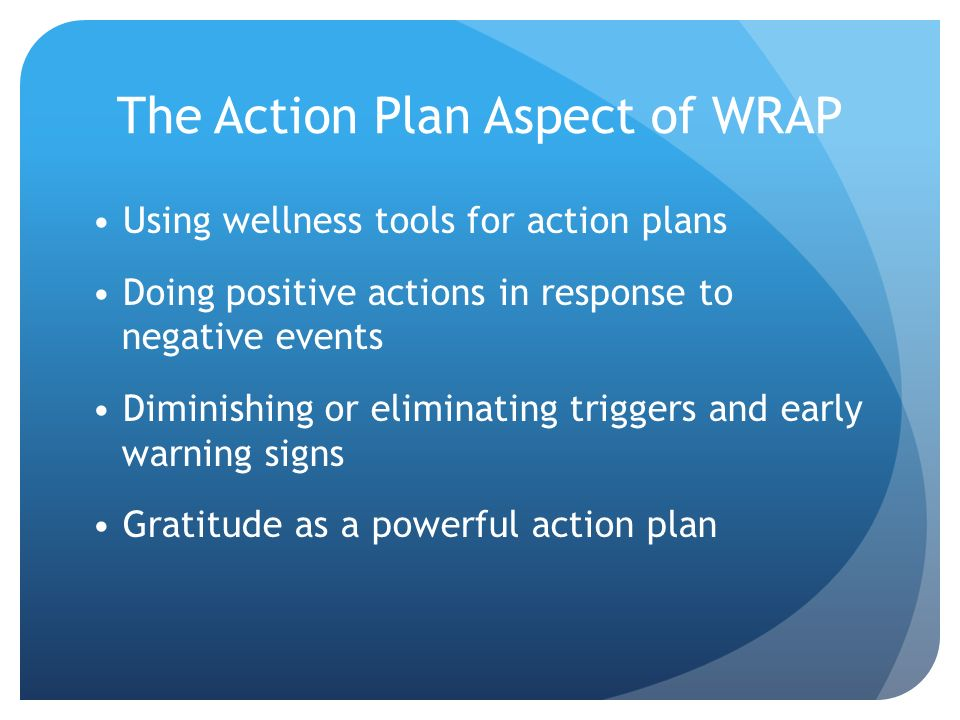 The Action Plan Aspect of WRAP