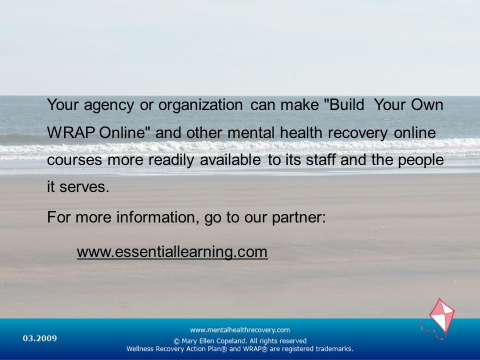 Your agency or organization can make Build Your Own WRAP Online and other mental health recovery online courses more readily available to its staff and the people it serves.