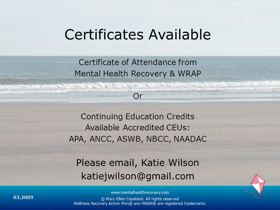Certificates Available