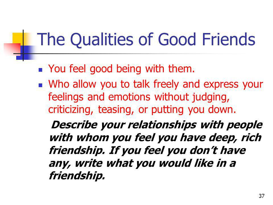 The Qualities of Good Friends