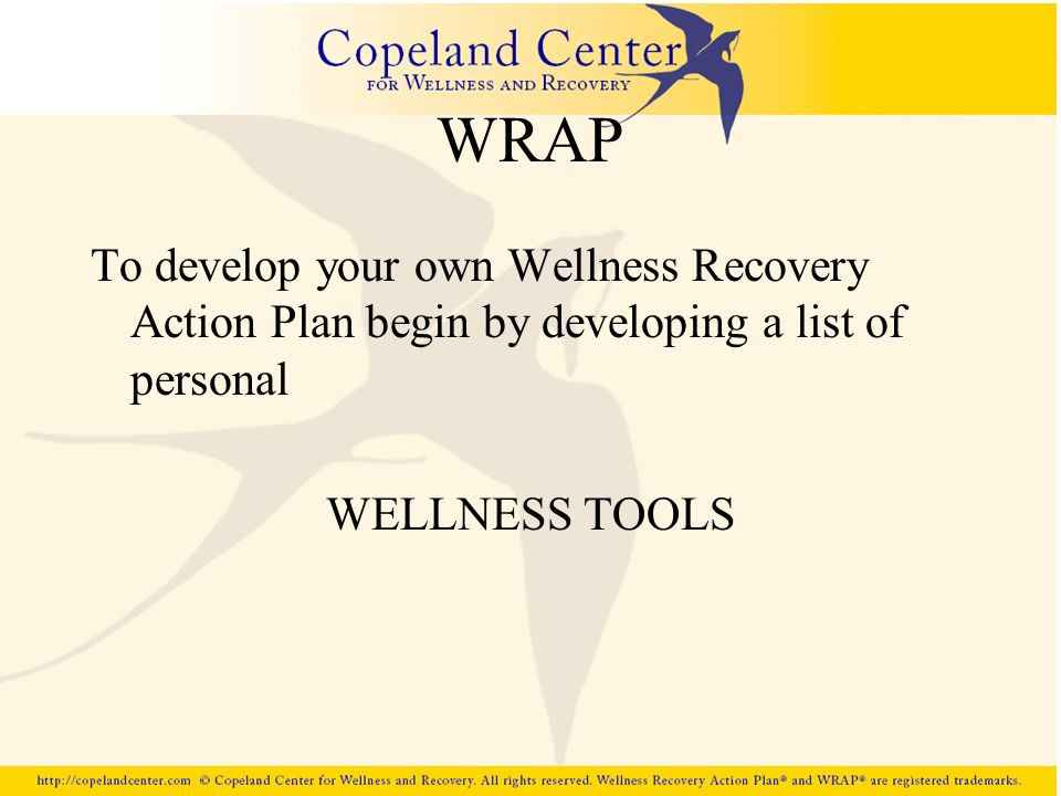 WRAP To develop your own Wellness Recovery Action Plan begin by developing a list of personal.