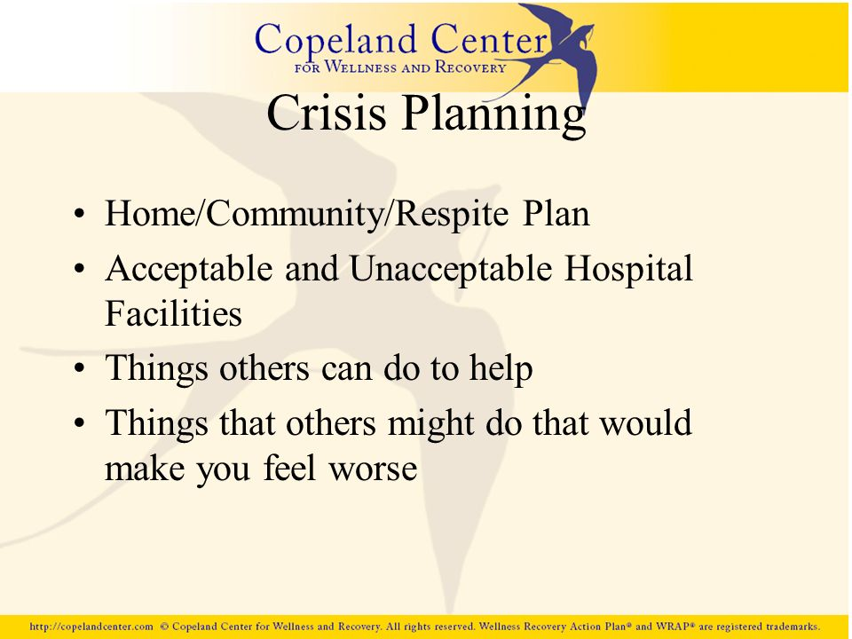 Crisis Planning Home/Community/Respite Plan