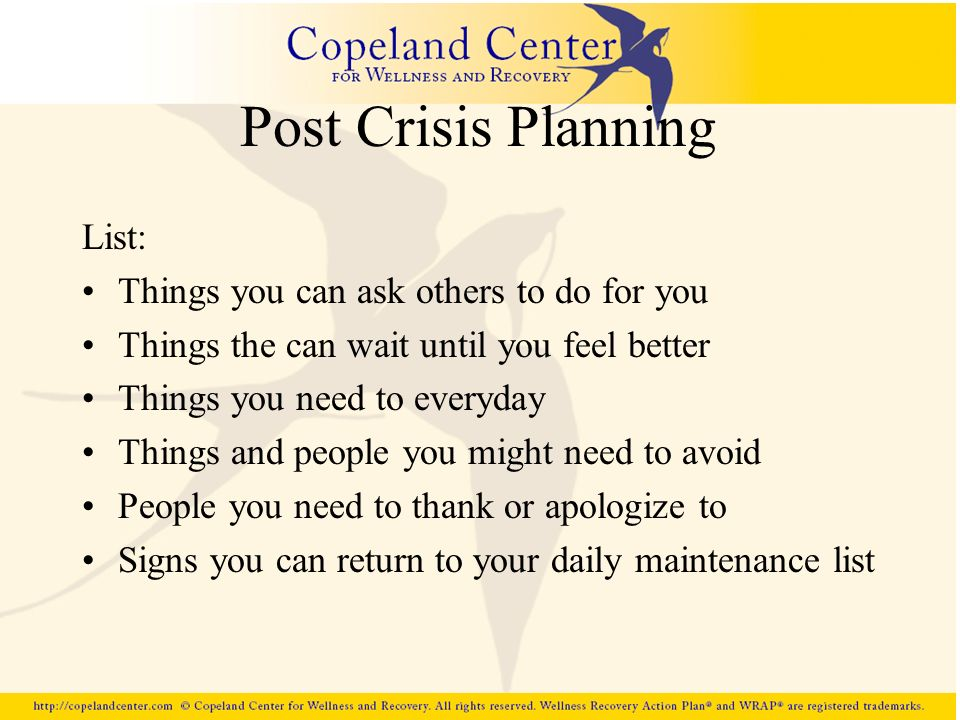 Post Crisis Planning List: Things you can ask others to do for you