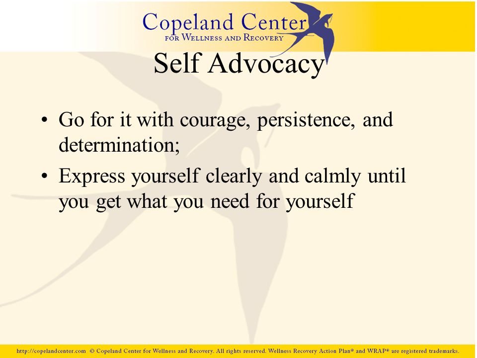 Self Advocacy Go for it with courage, persistence, and determination;