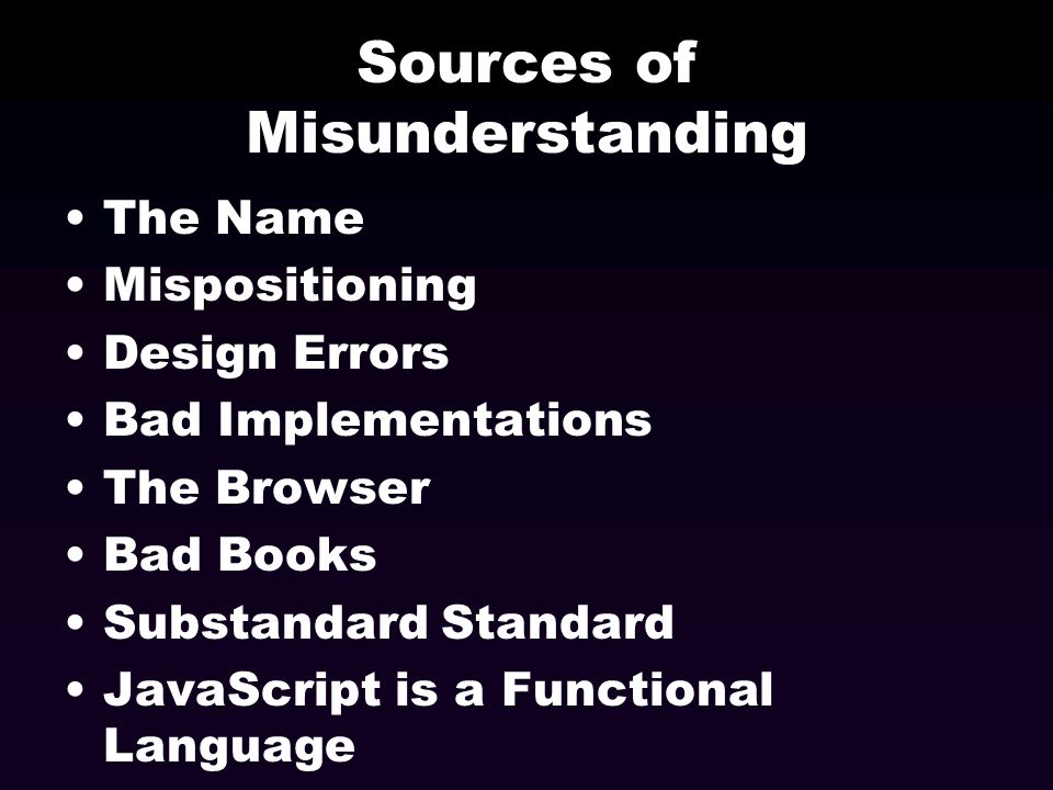 Sources of Misunderstanding