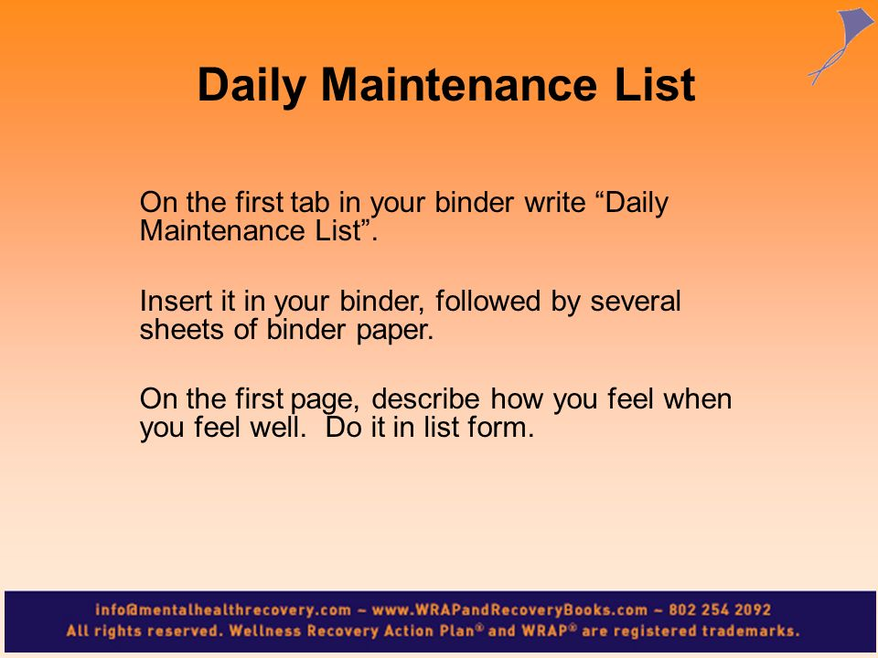 Daily Maintenance List