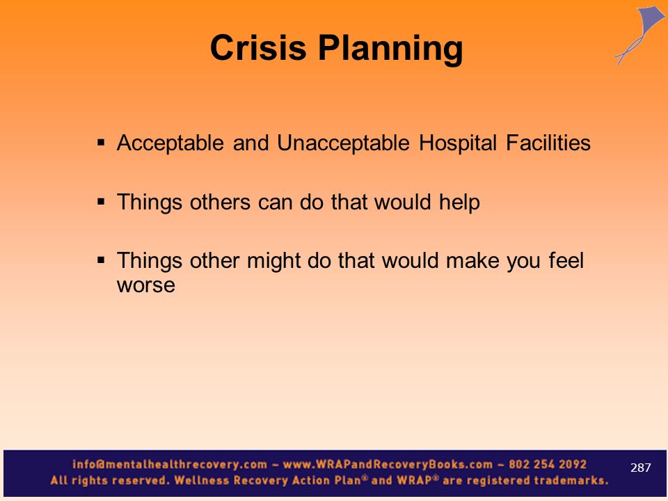 Crisis Planning Acceptable and Unacceptable Hospital Facilities