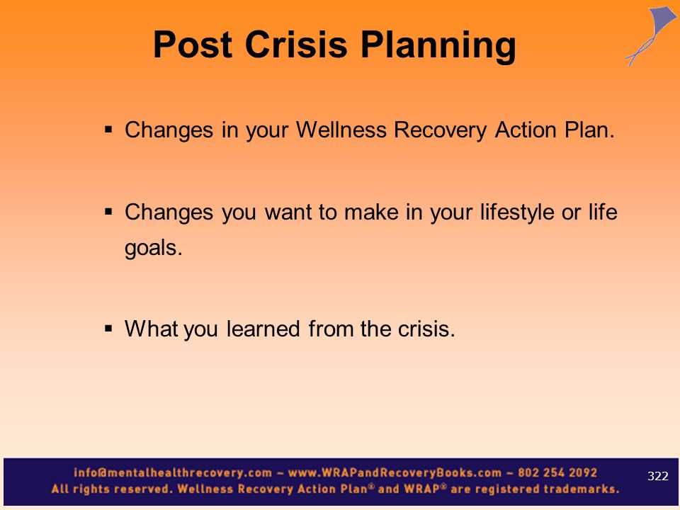 Post Crisis Planning Changes in your Wellness Recovery Action Plan.