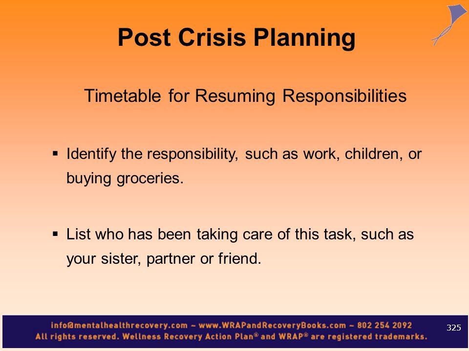 Timetable for Resuming Responsibilities
