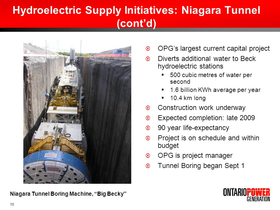 Hydroelectric Supply Initiatives: Niagara Tunnel (cont'd)