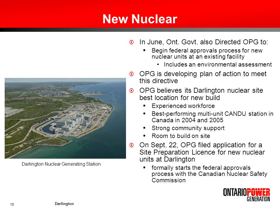 New Nuclear In June, Ont. Govt. also Directed OPG to: