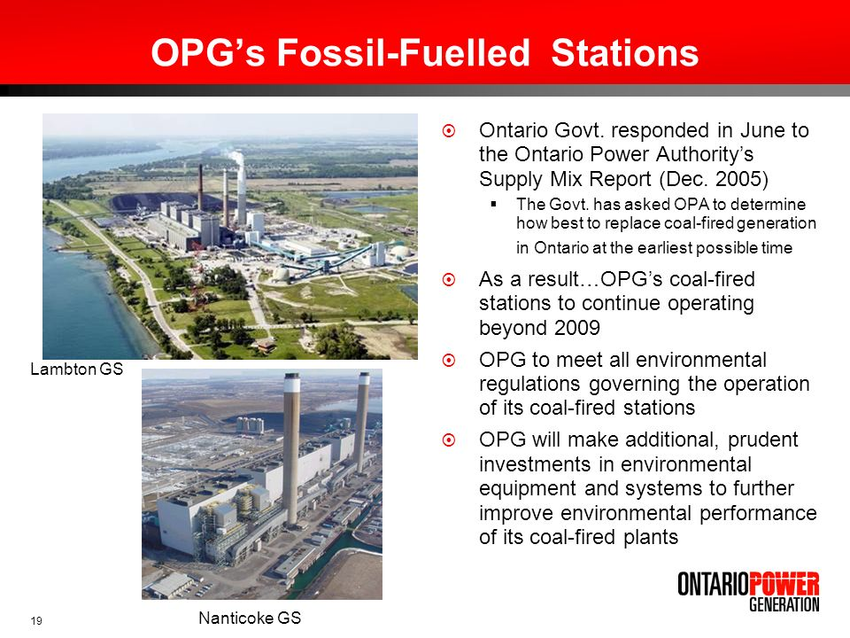 OPG's Fossil-Fuelled Stations