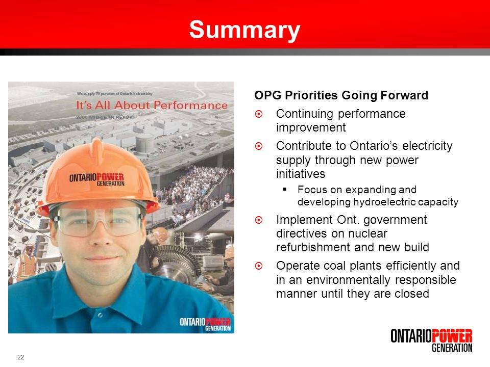 Summary OPG Priorities Going Forward