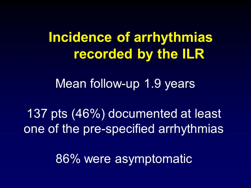 Incidence of arrhythmias recorded by the ILR