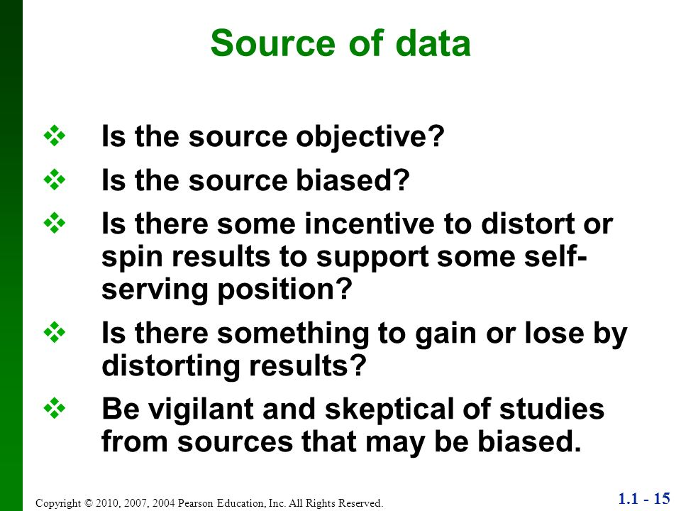 Source of data Is the source objective Is the source biased
