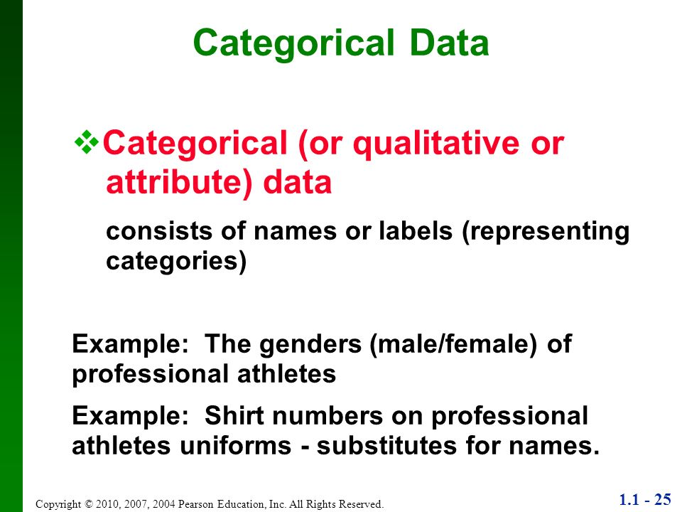 Categorical Data Categorical (or qualitative or attribute) data