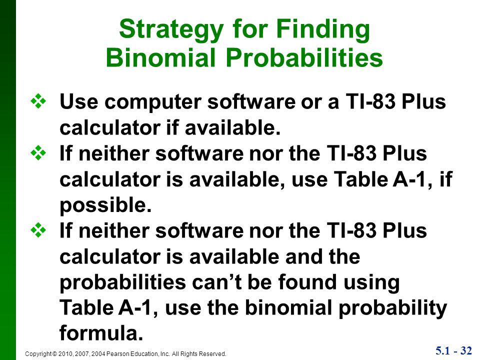 Strategy for Finding Binomial Probabilities