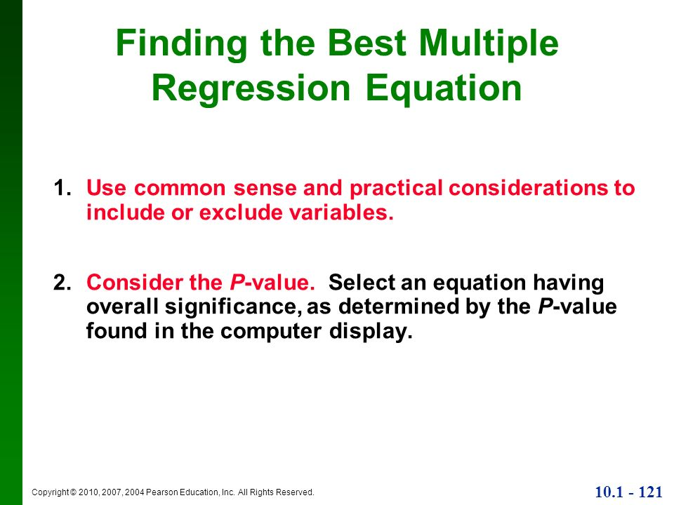 Finding the Best Multiple Regression Equation