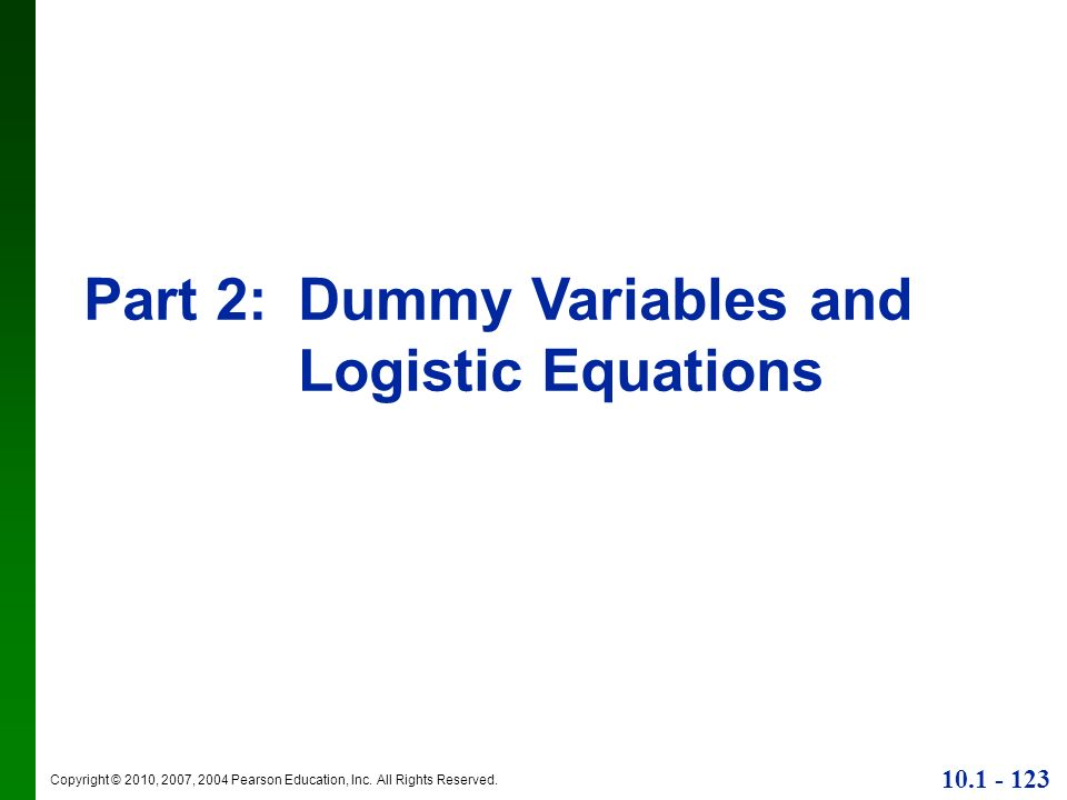 Part 2: Dummy Variables and Logistic Equations
