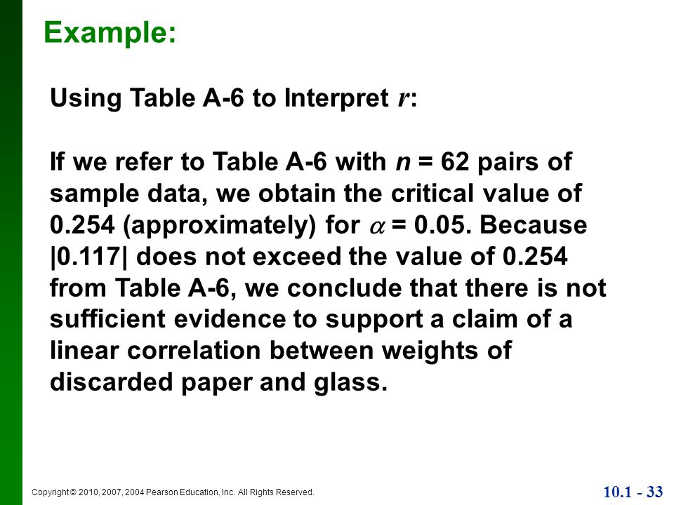 Example: Using Table A-6 to Interpret r: