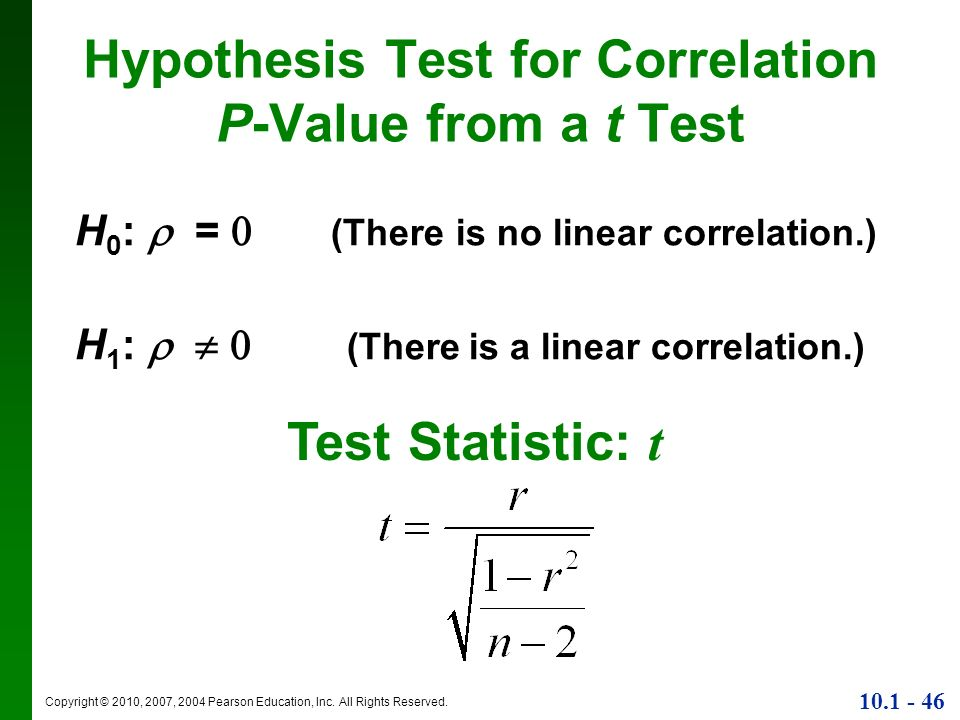 Hypothesis Test for Correlation P-Value from a t Test