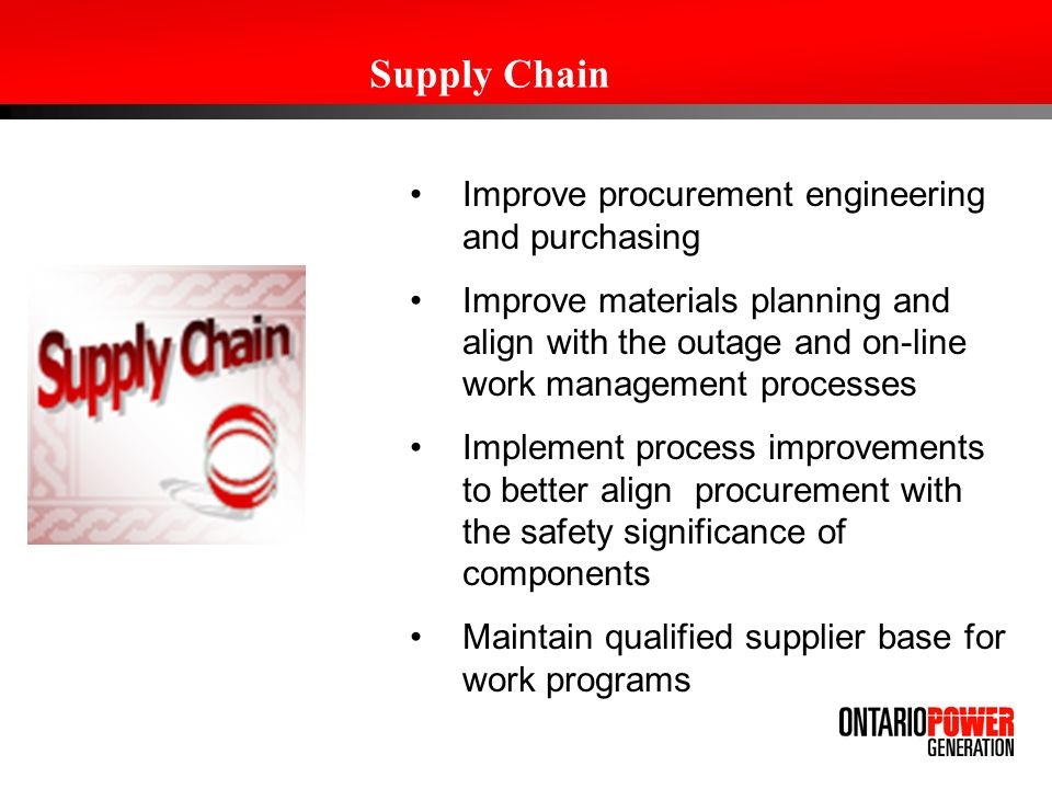 Supply Chain Improve procurement engineering and purchasing