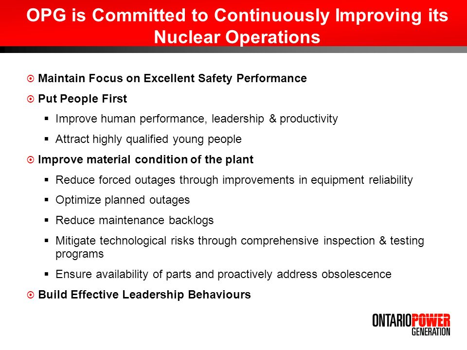 OPG is Committed to Continuously Improving its Nuclear Operations