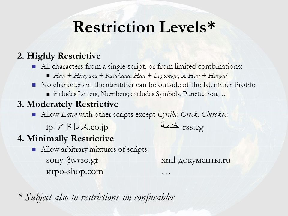 Restriction Levels* * Subject also to restrictions on confusables
