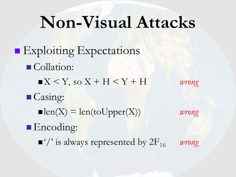 Non-Visual Attacks Exploiting Expectations Casing: Encoding: