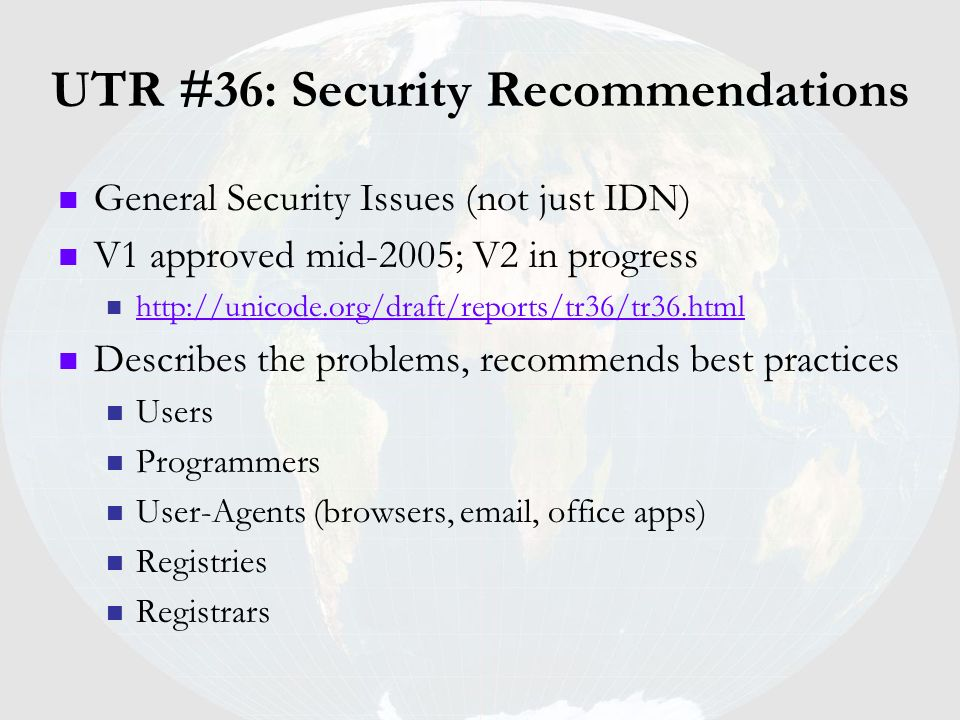 UTR #36: Security Recommendations