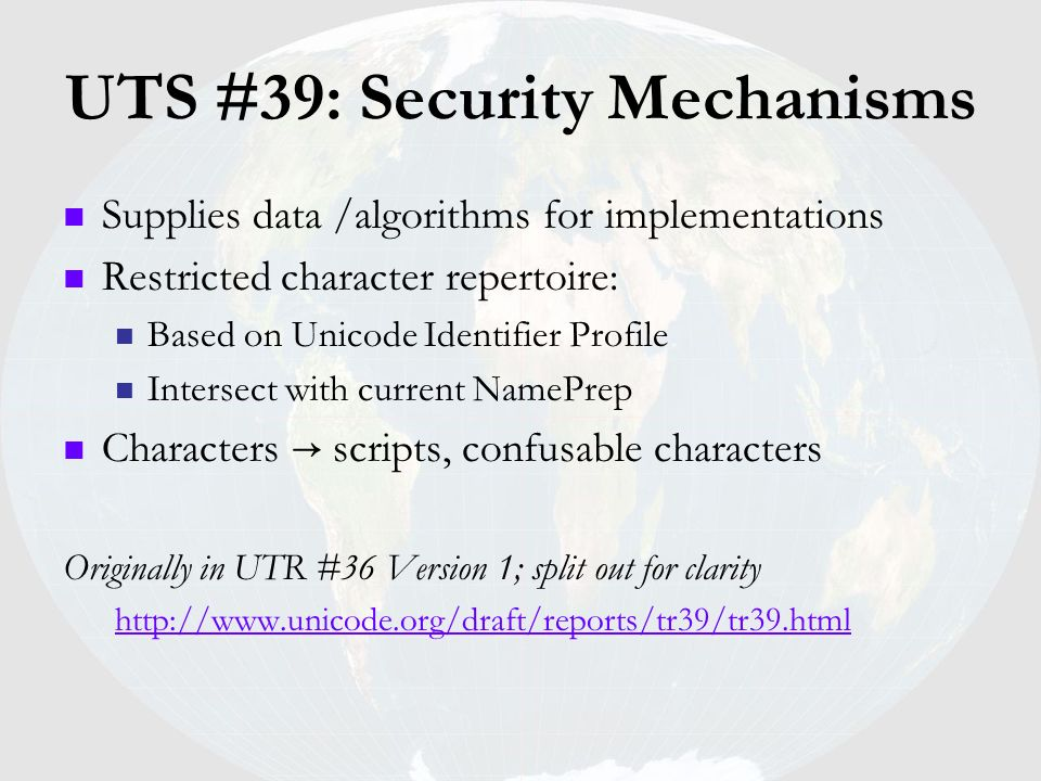 UTS #39: Security Mechanisms