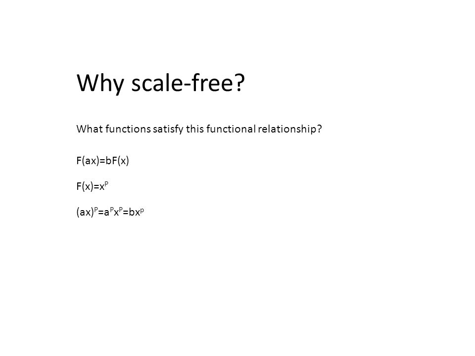 Why scale-free What functions satisfy this functional relationship