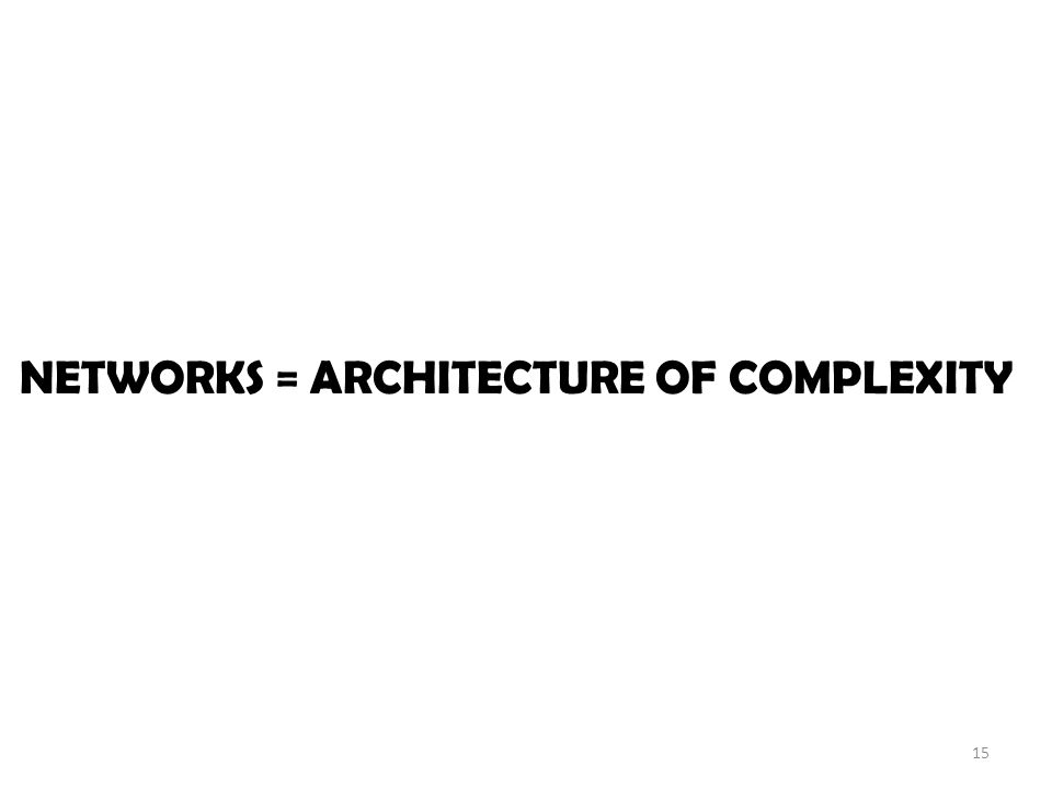 NETWORKS = ARCHITECTURE OF COMPLEXITY