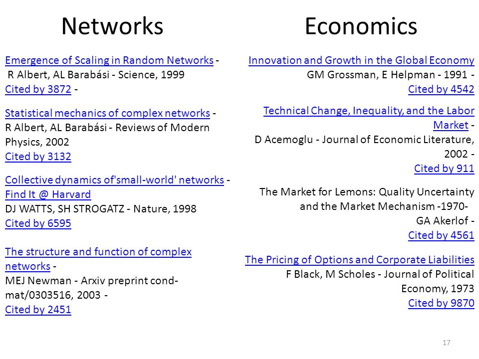 Networks Economics. Emergence of Scaling in Random Networks - R Albert, AL Barabási - Science, 1999.