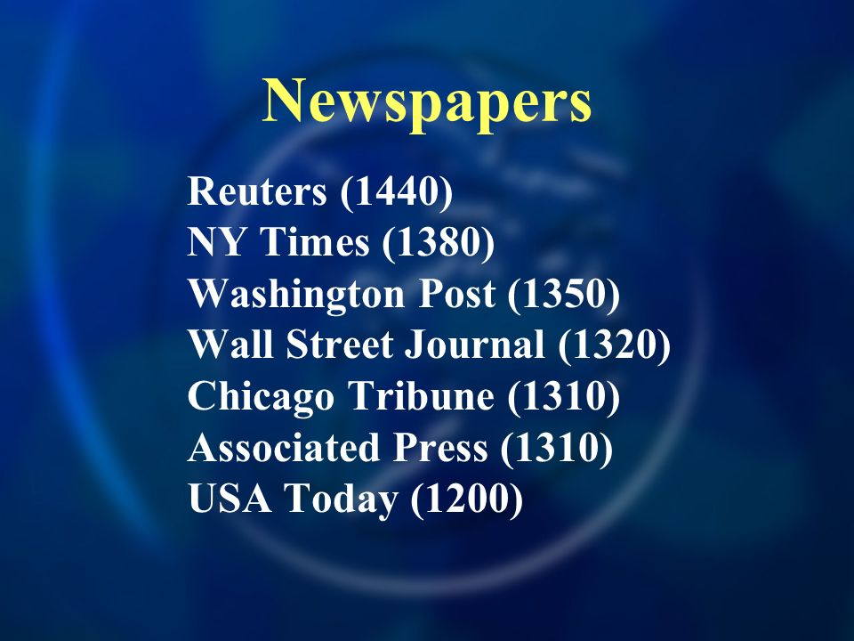 Newspapers Reuters (1440) NY Times (1380) Washington Post (1350)