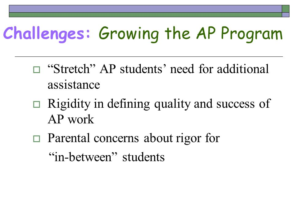 Challenges: Growing the AP Program