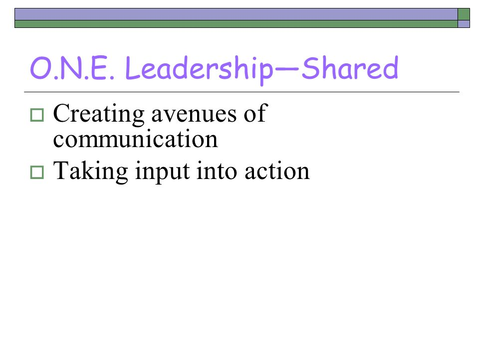 O.N.E. Leadership—Shared